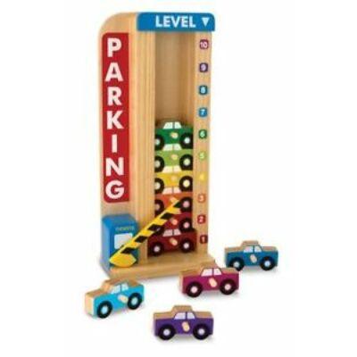 Fa készségfejlesztő játék - Színes-számos autós parkolótorony